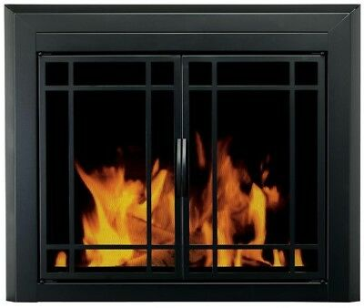 Pleasant Hearth Easton Black Large Cabinet-Style Fireplace Doors with Smoke