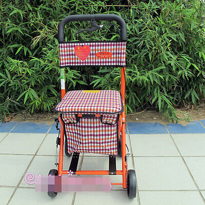 Orange Red 4 Wheels Convenient Foldable Shopping Luggage Trolleys With Seat #!