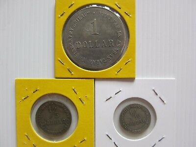 Very rare Indonesia Plantation Token, 1/10, 1/5 and 1 dollars.