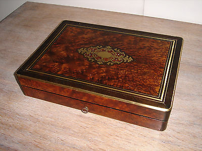 Antique Inlaid Games Box fitted for cards and counters for 4 players lock & key