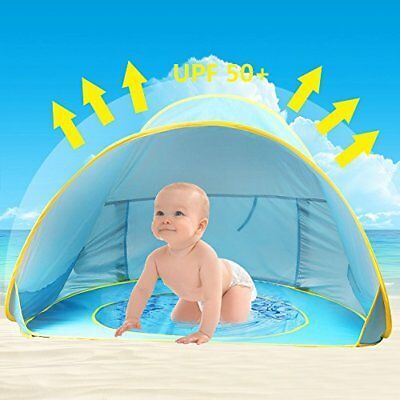 Baby Beach Tent,Oummit Pop Up Baby Tent with Small Beach PoolAutomatic Foldab...