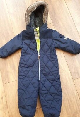 Boys Navy Quilted Next Snowsuit Age 12-18 Months