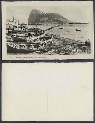 Gibraltar Rock from Spanish Beach Boats House & Panorama Old Real Photo Postcard