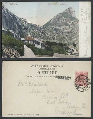 Gibraltar PAQUEBOT GB KE7 1d 1905 Old Colour UB Postcard Governor's Cottage