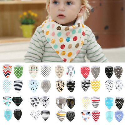 New 4pcs Baby Kids Dribble Bibs Feeding Cotton Bandana Saliva Towel Triangle Set