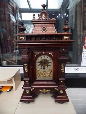 "Huge 32"" Bracket German Ting Tang Clock Walnut And Mahogany Finish 8 Day By Rsm"