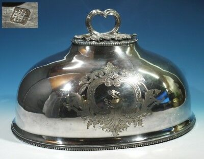 Antique Silver Plated Foliate Engraved / Heraldic Crest Domed Meat Cover NR.
