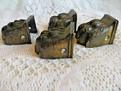 Antique Brass Lions Feet Foot Chair Mounts For Casters Furniture Upcycle