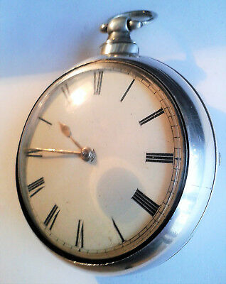 Large, heavy silver verge pair-cased pocket watch c1848