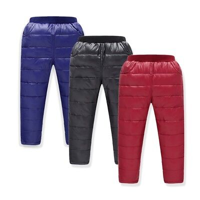 UK Kids Boys Girl Winter Warm Thick Down Pants Quilt Ultralight Bottoms Trousers