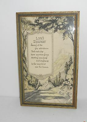 """Inspirational Quote """"Life's Highway"""" Wood Distressed Frame 10.5"""" x 6.75"""""""