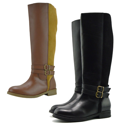 Womens Leather Knee-High Riding Boots Elastic Wide Calf Large Size Flat Boots