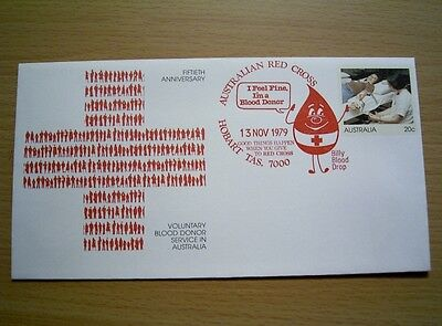 AUSTRALIAN RED CROSS - 13 NOV 1979 Pre-Stamped Envelope Pmk in RED at Hobart Tas