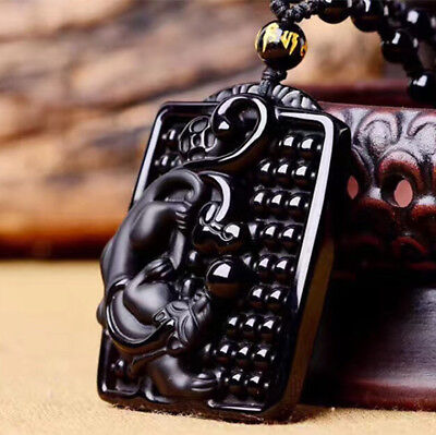 """Chinese Natural Obsidian Pure Hand Carved  """"Careful Calculation"""" Lucky Pendant"""