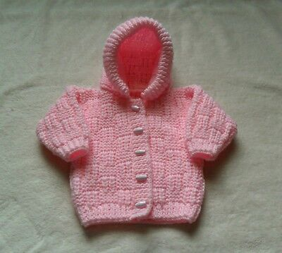 Hand Knitted Aran Baby Girls Pink Hoodie Hooded Jacket Age 3-6 Months