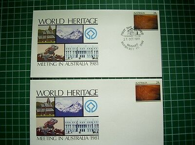 2x1981 PSE 045 WORLD HERITAGE MEETING IN AUST - 1 X FDI Pmk BATHURST ST + 1 MINT
