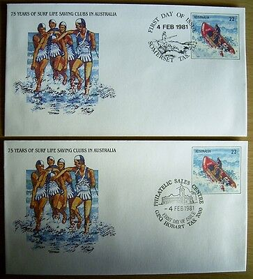 1981 PSE 75 Years SURF LIFE SAVING CLUBS  1xFDI Surf Pmk SOMERSET + 1 FDI HOBART