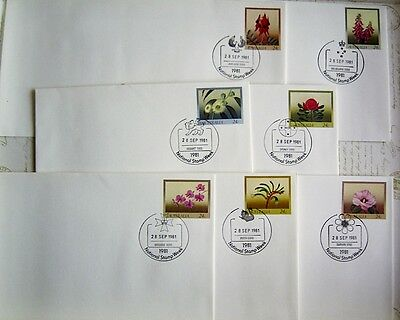 1981 Set x 7 PSE038-44 AUST FLORAL EMBLEMS - Nat Stamp Week PicPmk FDI EACH CITY