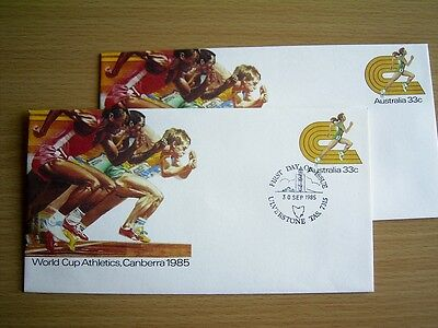 2 x 1985 PSE097 - WORLD CUP ATHLETICS CANBERRA - 1x Pic FDI ULVERSTONE + 1x MINT