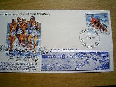 Overprinted 1981 PSE032 COTTESLOE BEACH SLSC - 75 Years SURF LIFE SAVING CLUBS