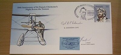 Rare1981 PSE 50th ANN FLT ACROSS TASMAN - SPEC PIC PMKS & CAPTAIN SIGNATURE