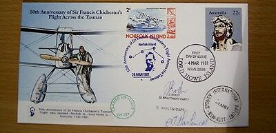 Rare1981 PSE 50th ANN FLT ACROSS TASMAN - CARRIED ON FLIGHT, SIGNED & SPEC PMKS