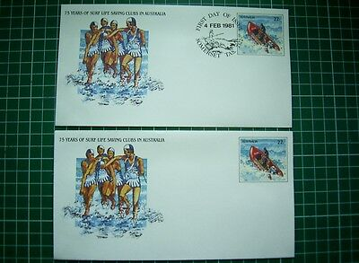 2x1981 PSE032 75 Years SURF LIFE SAVING CLUBS  1x FDI Surf Pmk SOMERSET + 1 MINT