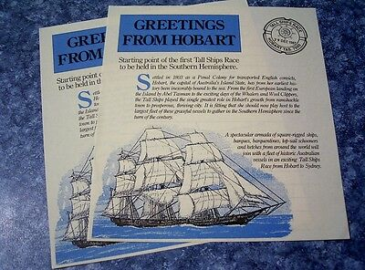 1987 AUST POST GREETINGS FROM HOBART 2x NOTE PAPER  TALL SHIPS RACE  pmk replica
