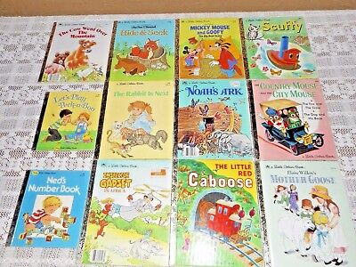 Vintage Lot Of 12 Little Golden Books 1970's & 1980's Very Good Condition