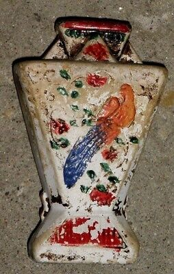 Antique Small Painted Pottery Clay Vase Parrot Figural Stamped Made In Japan