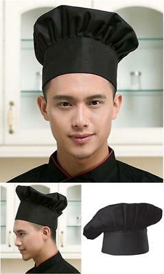 Chef Hat Adult Adjustable Elastic Baker Kitchen Cooking One Size Fits Most Black