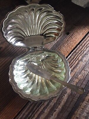 Vintage Silver Plate Clam Shell Butter Serving Dish