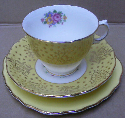 Vintage Colclough Floral/ Gilt And Yellow Trio