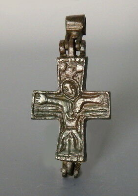 Byzantine Bronze Double Sided Reliquary Cross (L480)