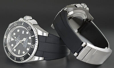 Bracelet FOR Rolex submariner Daytona GMT rubber band 20mm black with buckle too