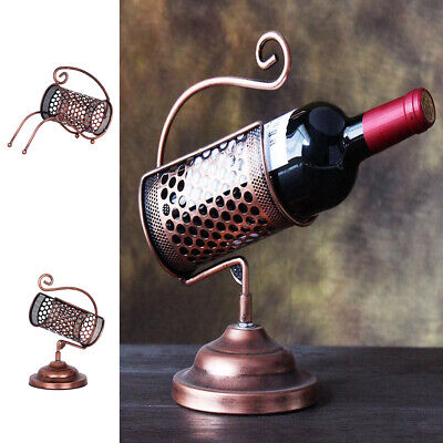 Lattice Design Iron Wine Rack Tabletop Display Stand Single Bottle Holder