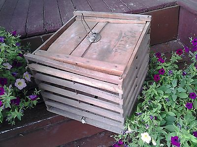 Old Antique Primitive Wood Egg or Chicken Crate From Old-Time Farm Auction -e