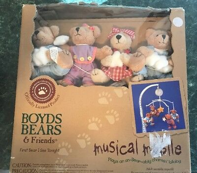 """Boyd bears musical Mobil  """"first Bear I See Tonight"""" baby Shower Gift New"""