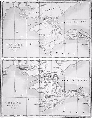 RUSSIA - MAP of the GREEK TAURID & current CRIMEA - Engraving from 19th century