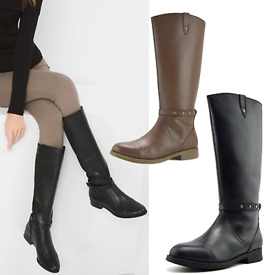 Womens Leather Knee-High Riding Boots Flat Boots
