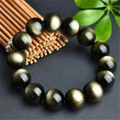 Natural Golden Obsidian Stone Bracelet/Velvet Pouch/FREE P+P/UK STOCK