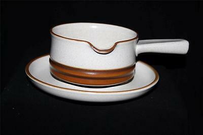 Denby Potters Wheel Gravy / Sauce Boat With Saucer / Stand