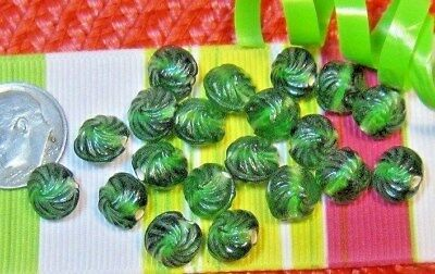 LOT OF 20 PCS. VINTAGE GLASS BEADS~DARK GREEN~CZECH~ESTATE SALE~7 to 8mm~NOS
