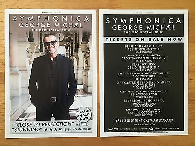 GEORGE MICHAEL - 2 x 2012 SYMPHONICA DOUBLE SIDED UK TOUR FLYERS (SIZE A5)