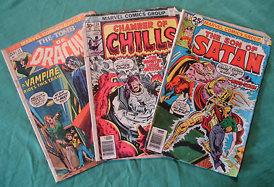 Marvel Lot of 3 Bronze age 1970s Comic Books Dracula, Satan, and Chamber Chills
