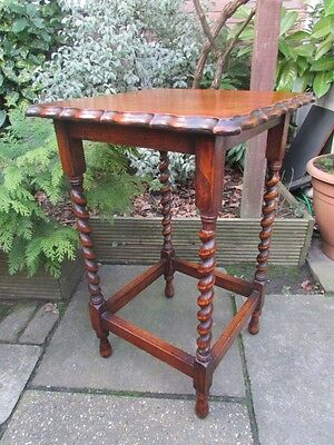 Vintage Oak Barley Twist Occasional Table / Side End Table / Hall Table