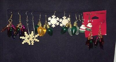 Vintage Retro Lot of 7 Pair Christmas Pierced Earrings, Dangles Bulbs, Santa