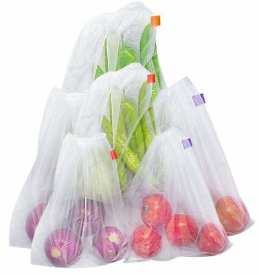 Bekith Set of 6 Reusable Produce Bags - Mesh Bags for Grocery Shopping & Storage