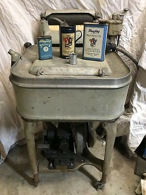 Vintage Maytag Gyratator Wringer Washer Gas Powered with Original Oil Gas Cans