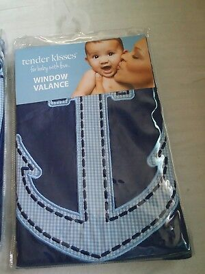 NEW!!!!  Tender Kisses Window Valance -LOT OF 2 Navy blue and baby blue ...